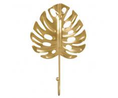 Colgador con 1 gancho hoja tropical de metal dorado