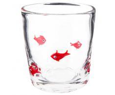 Vaso de cristal con motivo de peces rojos