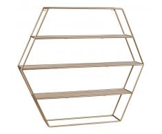 Repisa de pared hexagonal de metal dorado