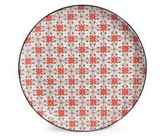 Plato llano de loza con flores rojas SEVILLE