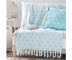 Colcha de algodón azul y blanco con motivos 130x170 cm LOGAN