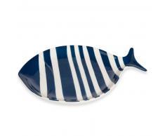 Fuente de pescado de loza azul marino L. 31 cm OLERON
