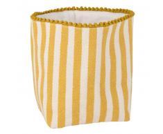 Cesta de pan de algodón amarillo y blanco con motivos decorativos de rayas