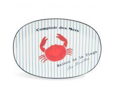 Fuente de rayas cangrejo de loza MATELOT