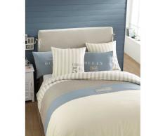Juego de cama 220 x 240 cm de algodón blanco OCÉAN