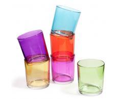 6 vasos de agua de cristal de colores GIPSY