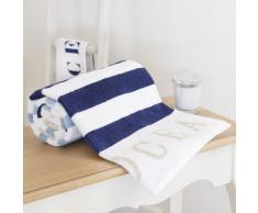 Toalla de baño azul de rayas de algodón 50 × 100cm OCÉAN