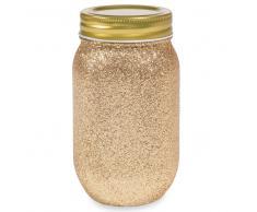 Tarro de cristal con lentejuelas doradas COPPER