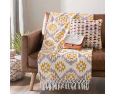 Colcha de sofá con motivos amarilla/gris 125x150 cm GOPSY