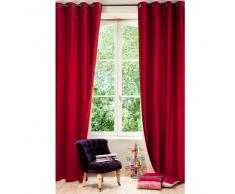 Cortina con ojales de doble cara de terciopelo y lino rojo y beige 140x300