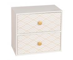 Caja con 2 cajones de cartón color crudo con motivos dorados