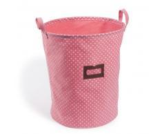 Cesta para la ropa rosa de lunares