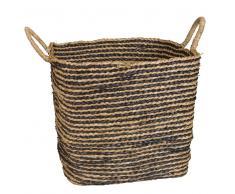 2 cestas cuadradas de fibra a rayas negras