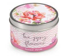 Vela perfumada aroma floral suave en tarro de metal D 8 cm