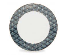 Plato de postre de porcelana azul D 20 cm MILORD