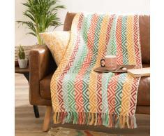 Colcha de algodón con motivos de jacquard multicolores 130x170 cm MERIDA