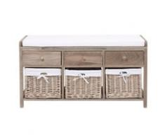 Banco de almacenaje de madera y algodón An. 103 cm Eloise
