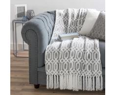 Colcha suave gris/blanca con flecos 125 x 150 cm WINSTON