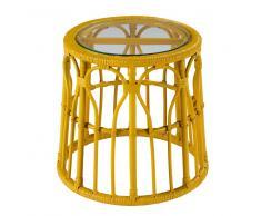 Mesa auxiliar de cristal y mimbre amarillo PESSOA
