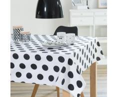 Mantel engomado de algodón blanco/negro 140 x 250cm DOTTY
