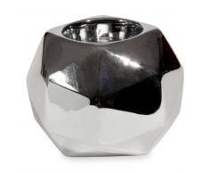 Candelabro de cerámica plateada H 8 cm DIAMANT SILVER