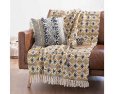 Colcha de algodón amarilla con motivos decorativos 160x210