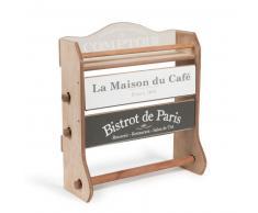 Balda de pared portarrollos de madera Al. 37 cm MAISON DU CAFÉ