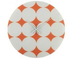Reloj de cristal naranja con motivos blancos D.70 cm RETRO POP