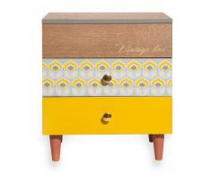 Caja de sobremesa de 2 cajones en imitación a madera tricolor VINTAGE BOX