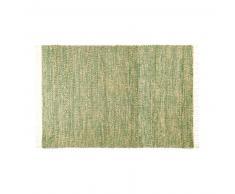 Alfombra trenzada de yute y algodón verde 140x200