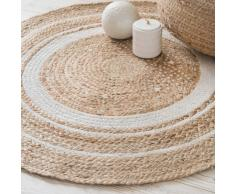 Alfombra redonda de algodón blanco y yute D.90 cm LEIGH