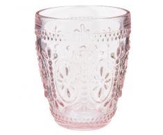 Vaso ancho de cristal rosa FLORAL