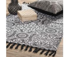 Alfombra de algodón negro 60 x 90 cm PALERME