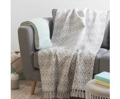 Colcha de algodón con motivos de jacquard gris 160x210 cm UZES
