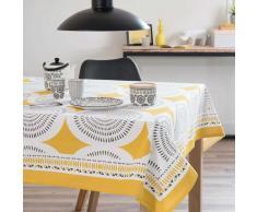 Mantel cuadrado de algodón amarillo/gris 170 x 170 cm HELICONIA