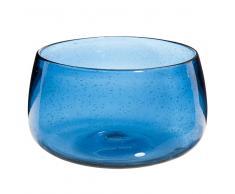 Ensaladera de cristal con burbujas azul
