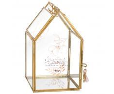 Joyero de vidrio y metal dorado