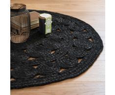 Alfombra redonda de yute negra D 90 cm ÉBÈNE