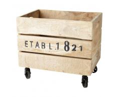 Caja con ruedas de madera 32 x 46 cm RAILWAY