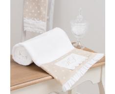 Toalla de ducha blanca y beis de algodón 70 × 140 cm SANS SOUCI