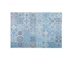 Alfombra de tela con motivos de azulejos de cemento azules 140x220 cm CAPRI