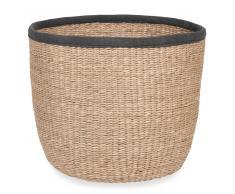 Cesta de fibra vegetal y tela antracita ESCALE