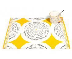Mantel individual de algodón amarillo/gris 33 x 48 cm HELICONIA