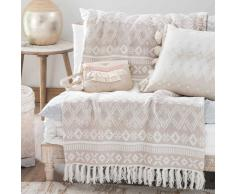 Colcha de algodón beis con motivos jacquard 160x210 cm PHOENIX