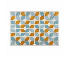 Alfombra de tela con motivos naranja y azules 140x200 cm SEVEN