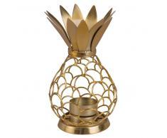 Candelabro en forma de piña de metal calado dorado