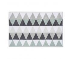 Alfombra de baño blanca/gris de algodón 50 × 80cm TRIANGLE