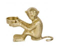 Candelabro en forma de mono de metal dorado