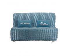 Funda de algodón azul pato con estampado de estrellas para sofá-cama acordeón Elliot
