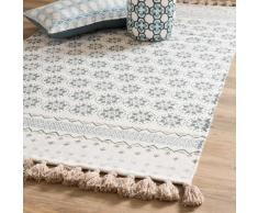 Alfombra con flecos de algodón blanco con motivos azules 90x150cm TOULON